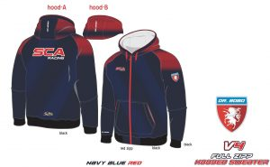 Full Zipp hooded sweatshirt SCA Dunkel Blau V4 RED